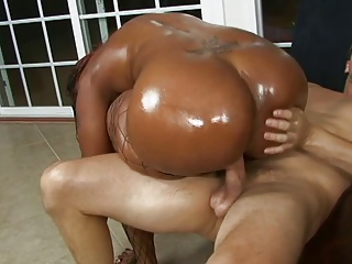 Lucky White Stud Gets His Throbbing Cock Deep-throated By Two Black Whores