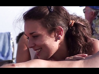 French Nudist Beach Cap D'Agde Hot Brunette Sucking — R2F