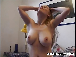 Busty Amateur Girlfriend Masturbates And Fucks With Cumshot