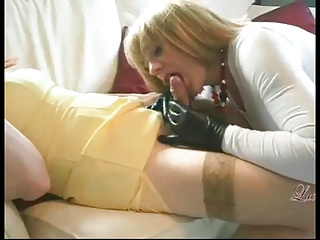 Smoking Crossdresser Gets Sucked By Another CD